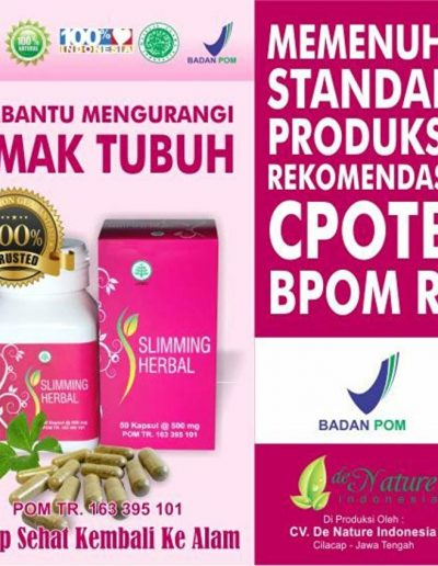 Paket Herbal Pelanging Tubuh Sliming Herbal - De Nature Indonesia 085888818587 0877870639